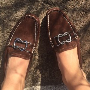 Nine West brown suede loafers w/ buckle  5 1/2